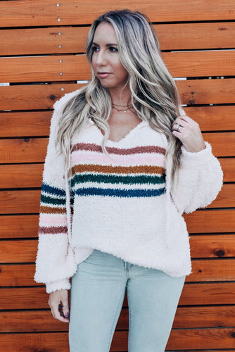 Huntington Striped Fuzzy Pullover Sweater