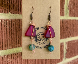 Sea Glass Wire Wrapped Earrings - The Catalyst Mercantile