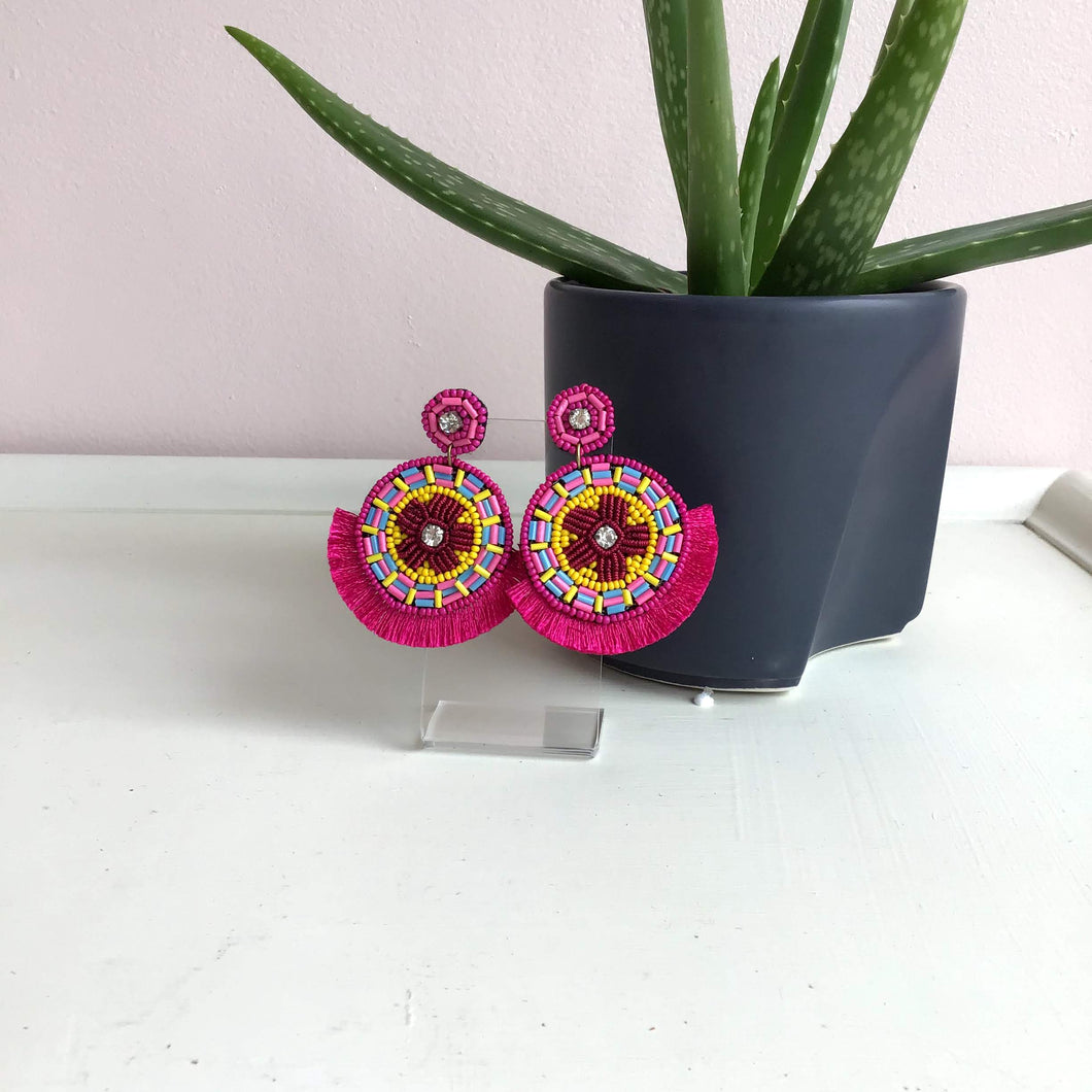 Bright Pink Fringe Statement Earrings - The Catalyst Mercantile