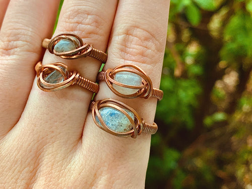 Labradorite Chip Wire Wrapped Rings