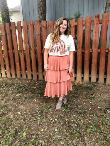 Swing with It Tiered Coral Skirt