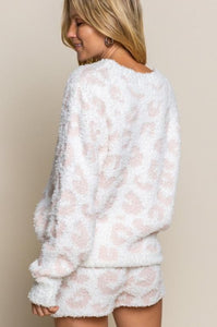 Pebble Beach White & Pink Leopard Sweater