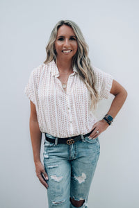 Stacy Striped Pattern Button Down Blouse