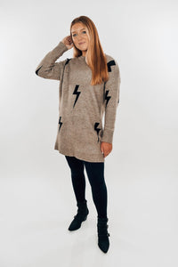 Stormy Cocoa Bolt Sweater Dress