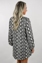 Load image into Gallery viewer, Swooning Snakeskin V-Neck Balloon Sleeve Dress