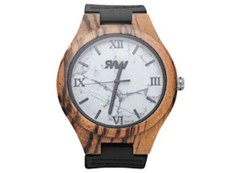 White Lightning Zebra Wood and Leather Watch
