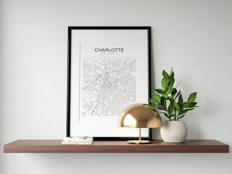 Charlotte Street Map Wall Print - The Catalyst Mercantile