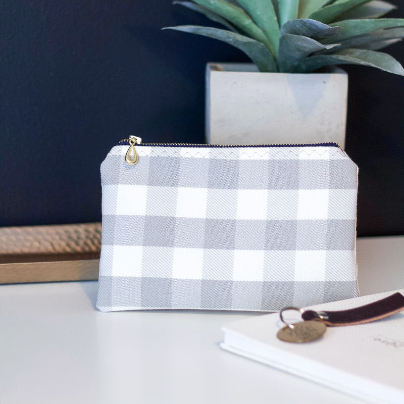 Gray Checked Zipper Pouch - The Catalyst Mercantile