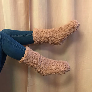 Teddy Bear Sherpa Cozy Socks with Grippers