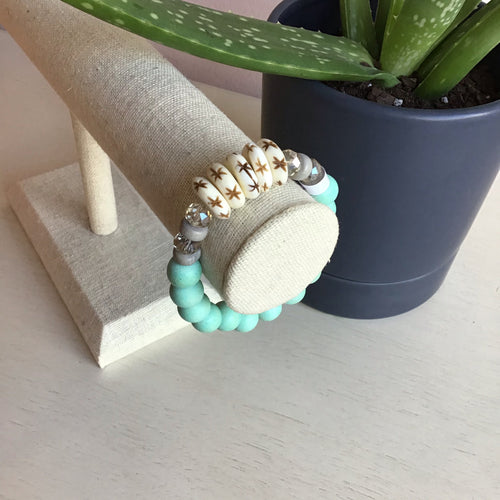 Teal Wood Stretch Bangle - The Catalyst Mercantile