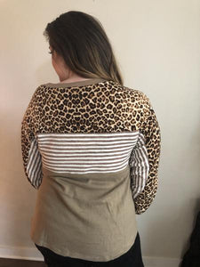 Block Cheetah and Stripe Top