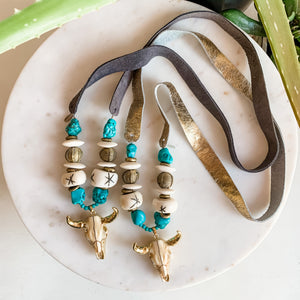 Austin Turquoise Steer Statement Necklace