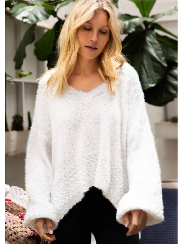 White Popcorn Sweater