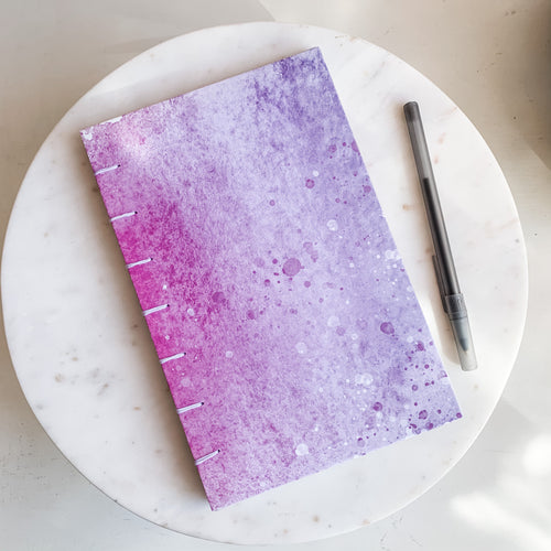 Inky Pink and Purple Hand Bound Journal