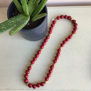 Red Beaded Statement Necklace - The Catalyst Mercantile