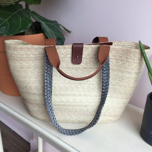 Straw and Leather Woven Tote - The Catalyst Mercantile