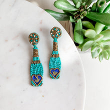 Load image into Gallery viewer, Pop the Bubbly Beaded Champagne Bottle Earrings