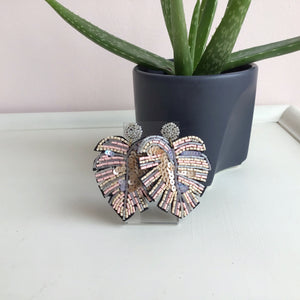 Pink Sequined Monstera Leaf Earrings - The Catalyst Mercantile