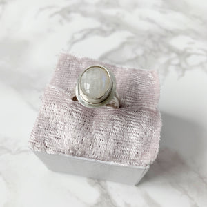 Moonstone Halo Ring Size 8 - The Catalyst Mercantile