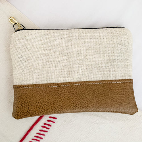 Leather Bottom Zipper Pouch