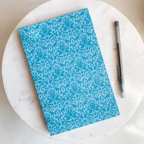 Blue Fleur Print Hand Bound Journal
