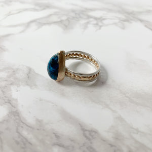 Mixed Metals Teardrop Chrysocolla Ring size 7.5 - The Catalyst Mercantile
