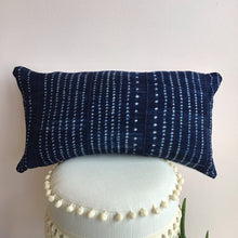 Load image into Gallery viewer, African Indigo Dots Lumbar Pillow Cover - The Catalyst Mercantile