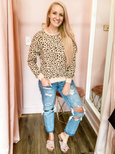 Jackie Leopard Printed Pullover Sweashirt