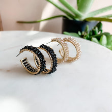 Load image into Gallery viewer, Date Night Glitz Beaded Hoop Earrings