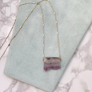 Amethyst Long Dainty Necklace - The Catalyst Mercantile