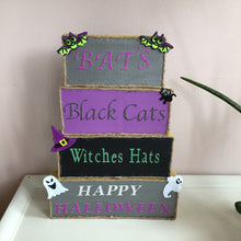 Load image into Gallery viewer, Set of 4 Blocks Halloween Sign