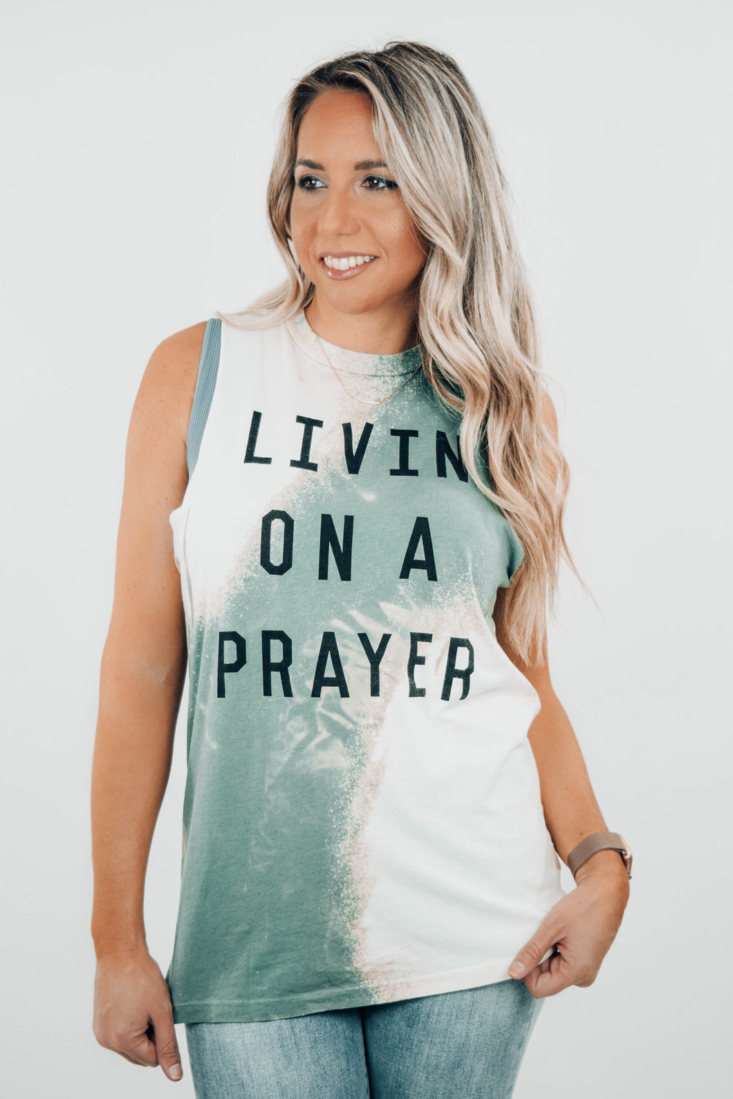 Livin on a Prayer Bleached Muscle Tee - The Catalyst Mercantile