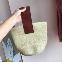 Load image into Gallery viewer, Coral Mini Straw Tote Bag