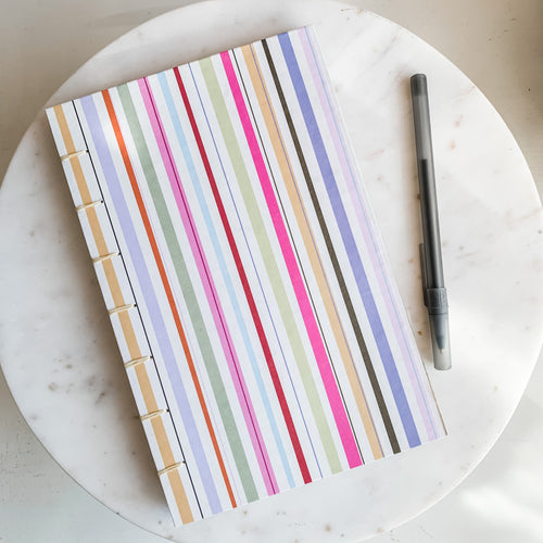 Bright Stripes Hand Bound Journal