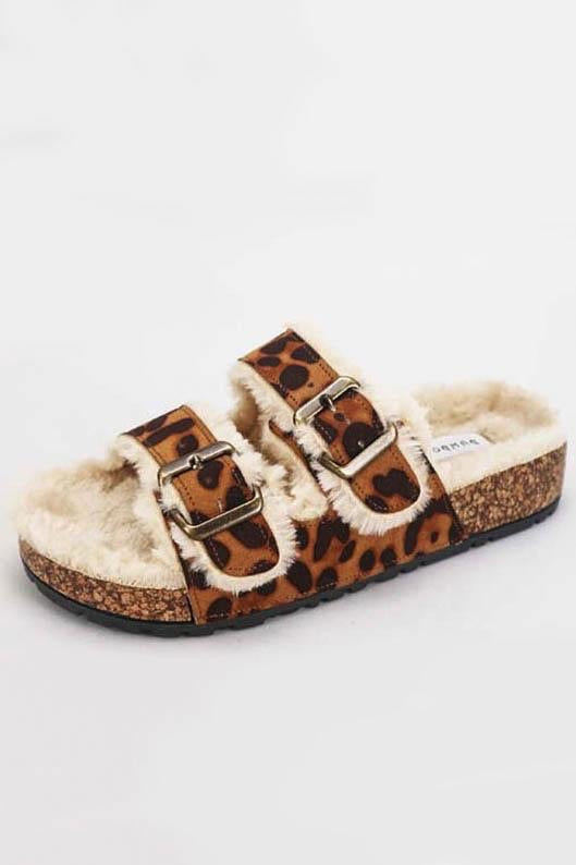 Toasty Leopard Fur Cozy Sandals