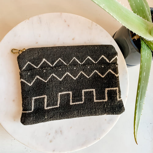 Black African Mudcloth Zipper Pouch