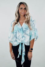 Load image into Gallery viewer, Gone Coastal Tie Dye Tie Front Blouse - The Catalyst Mercantile