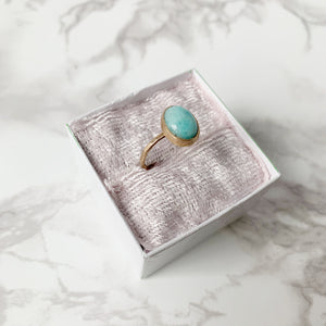 Gold Amazonite Ring size 8 - The Catalyst Mercantile