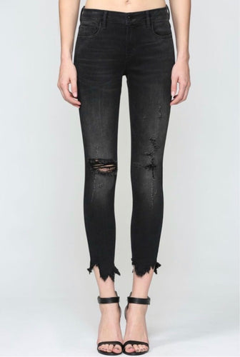 Amelia Skinny Black Distressed Denim