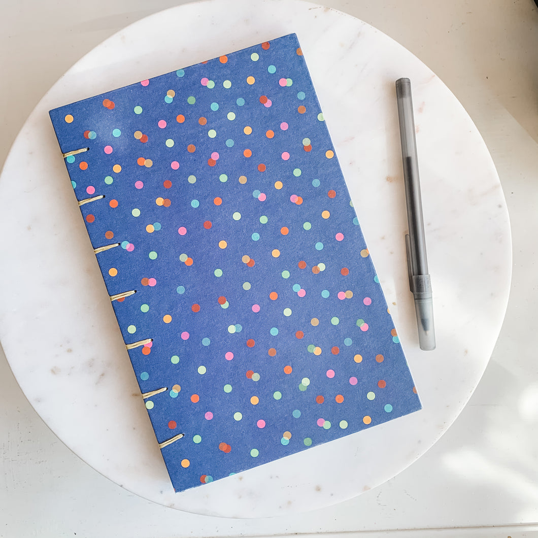 Navy Confetti Hand Bound Journal