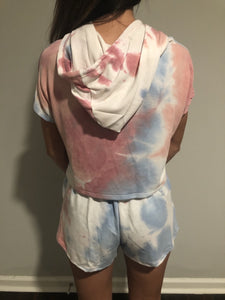 Cropped Red, White, and Blue Tie Dye Hoodie - The Catalyst Mercantile