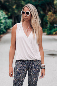 Quartz Cupro Surplice Sleeveless Top - The Catalyst Mercantile