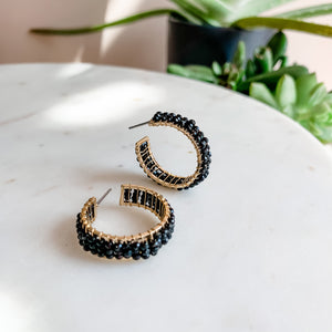 Date Night Glitz Beaded Hoop Earrings