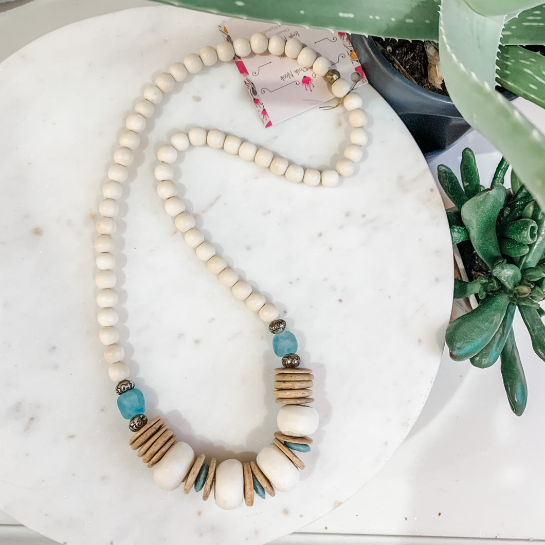 Wooden Bone Bead Necklace