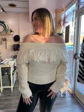 Load image into Gallery viewer, Off the Shoulder White Fringe Sweater