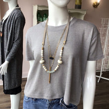 Load image into Gallery viewer, Grey Suede African Glass Layer Necklace - The Catalyst Mercantile