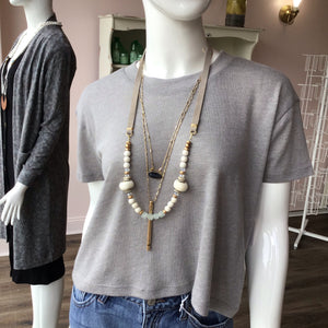 Grey Suede African Glass Layer Necklace - The Catalyst Mercantile