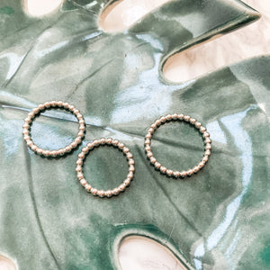 Soulmate Beaded Stacking Ring Silver