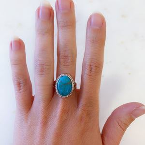 Large Arizona Turquoise Statement Ring Size 9 - The Catalyst Mercantile