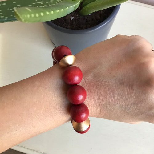 Red Beaded Statement Bracelet - The Catalyst Mercantile